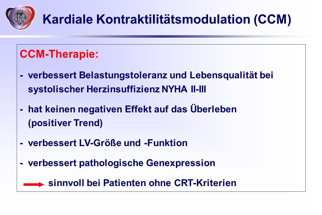 Kardiale Kontraktilitätsmodulation (CCM) CCM-Therapie: -verbessert Belastungstoleranz und Lebensqualität bei systolischer Herzinsuffizienz NYHA II-III