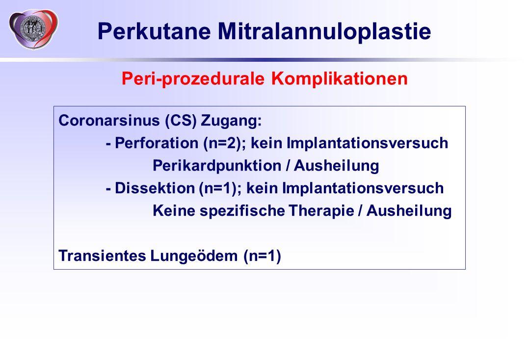 Coronarsinus (CS) Zugang: - Perforation (n=2); kein Implantationsversuch Perikardpunktion / Ausheilung - Dissektion (n=1); kein Implantationsversuch K