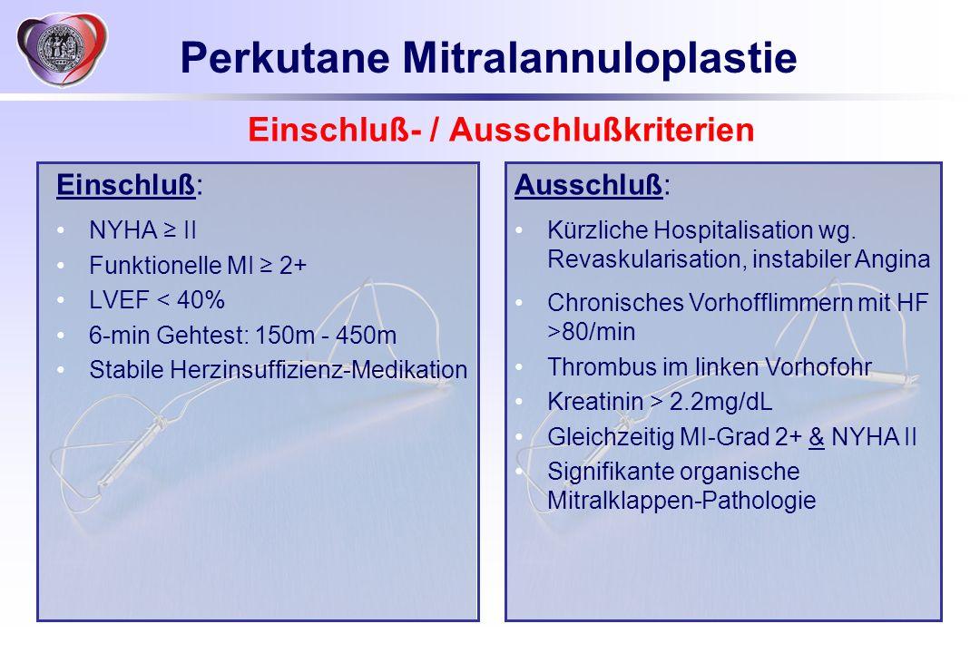 Einschluß- / Ausschlußkriterien Einschluß: NYHA II Funktionelle MI 2+ LVEF < 40% 6-min Gehtest: 150m - 450m Stabile Herzinsuffizienz-Medikation Aussch