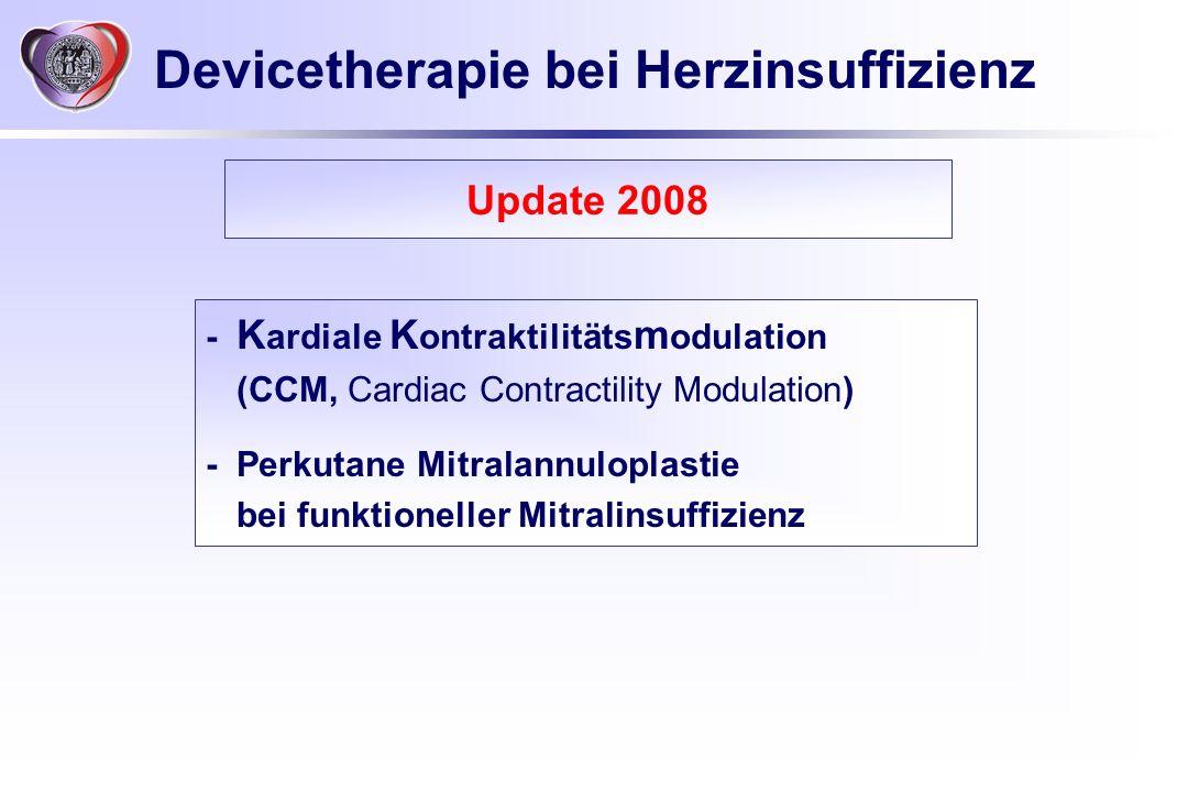 Devicetherapie bei Herzinsuffizienz - K ardiale K ontraktilitäts m odulation (CCM, Cardiac Contractility Modulation) - Perkutane Mitralannuloplastie b