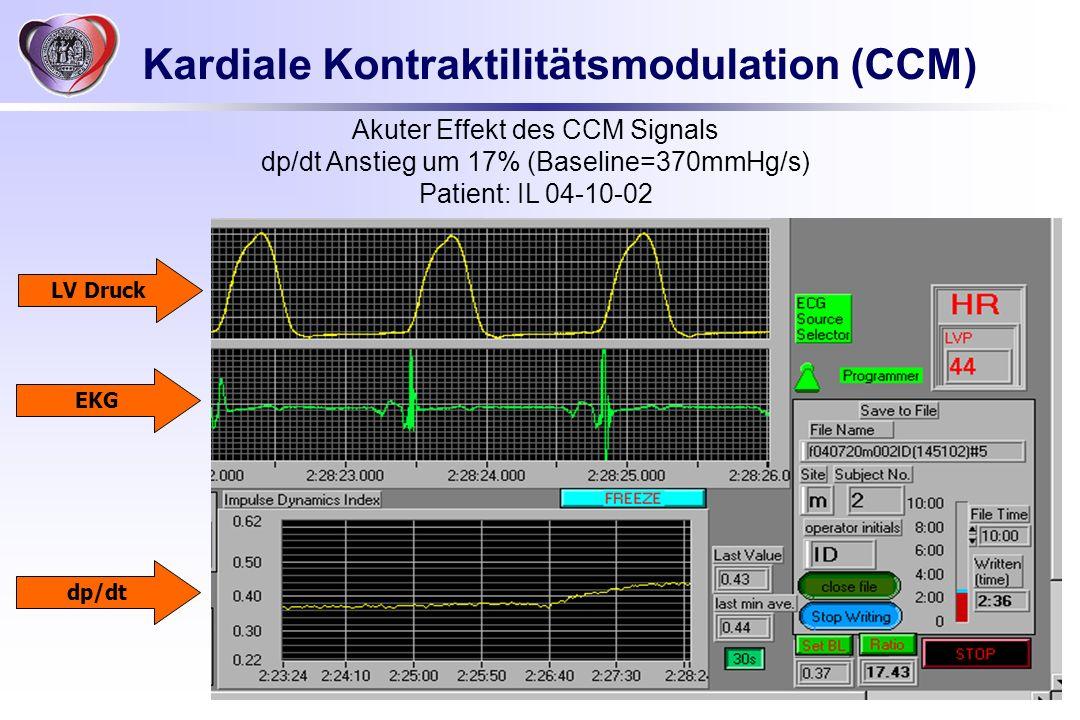 Akuter Effekt des CCM Signals dp/dt Anstieg um 17% (Baseline=370mmHg/s) Patient: IL 04-10-02 LV Druck EKG dp/dt Kardiale Kontraktilitätsmodulation (CC