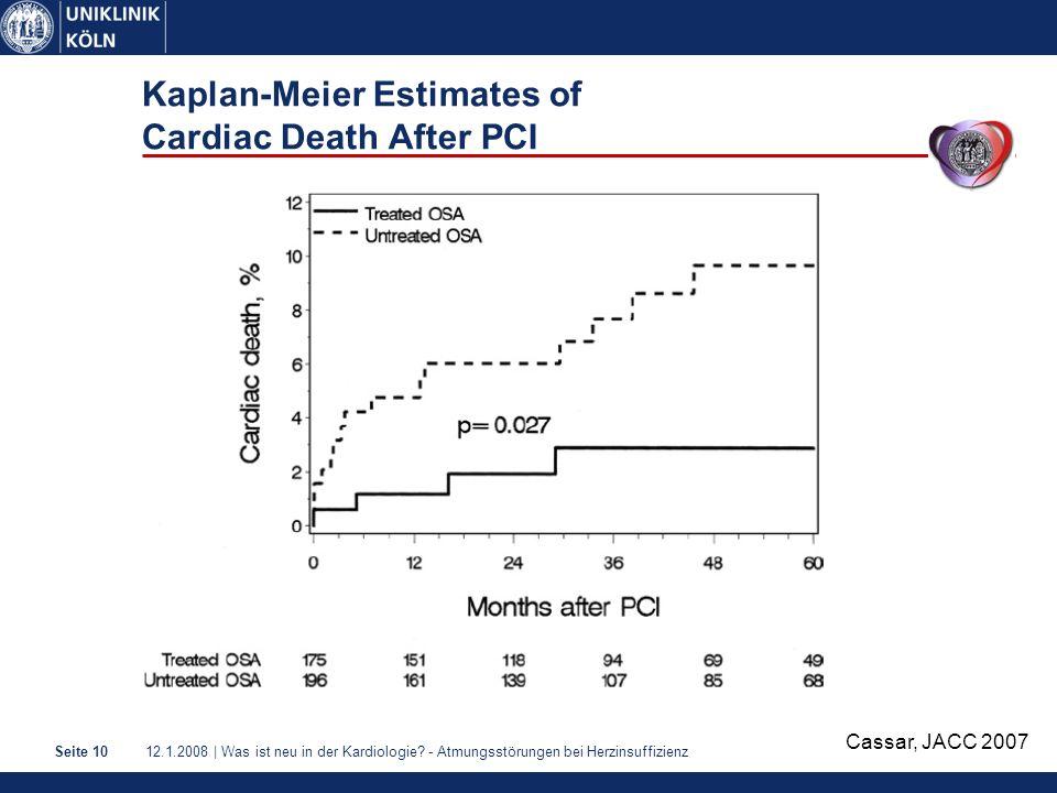 12.1.2008 | Was ist neu in der Kardiologie? - Atmungsstörungen bei HerzinsuffizienzSeite 10 Kaplan-Meier Estimates of Cardiac Death After PCI Cassar,