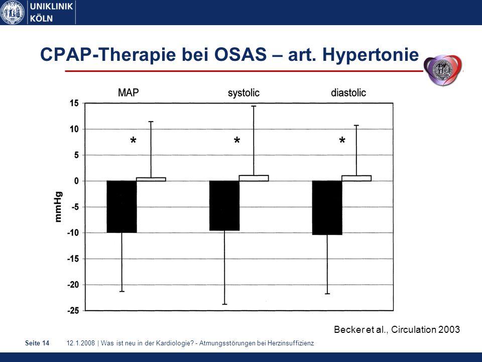 12.1.2008 | Was ist neu in der Kardiologie? - Atmungsstörungen bei HerzinsuffizienzSeite 14 CPAP-Therapie bei OSAS – art. Hypertonie Becker et al., Ci