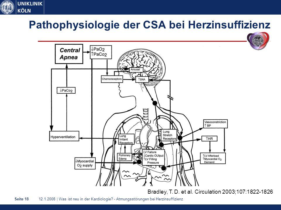 12.1.2008 | Was ist neu in der Kardiologie? - Atmungsstörungen bei HerzinsuffizienzSeite 18 Pathophysiologie der CSA bei Herzinsuffizienz Bradley, T.