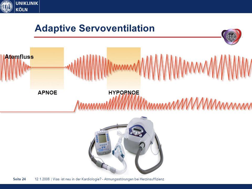 12.1.2008 | Was ist neu in der Kardiologie? - Atmungsstörungen bei HerzinsuffizienzSeite 24 Atemfluss HYPOPNOEAPNOE Adaptive Servoventilation