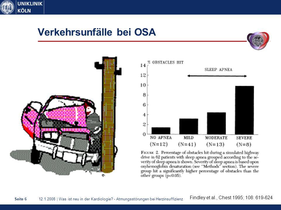 12.1.2008 | Was ist neu in der Kardiologie? - Atmungsstörungen bei HerzinsuffizienzSeite 6 Verkehrsunfälle bei OSA Findley et al., Chest 1995; 108: 61