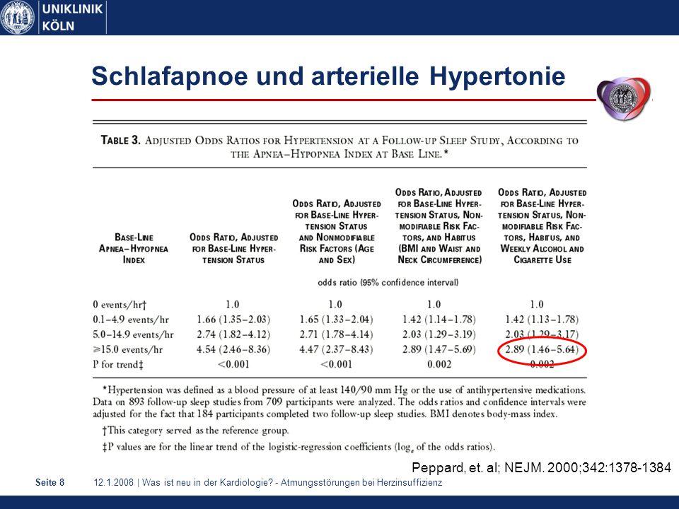 12.1.2008 | Was ist neu in der Kardiologie? - Atmungsstörungen bei HerzinsuffizienzSeite 8 Schlafapnoe und arterielle Hypertonie Peppard, et. al; NEJM