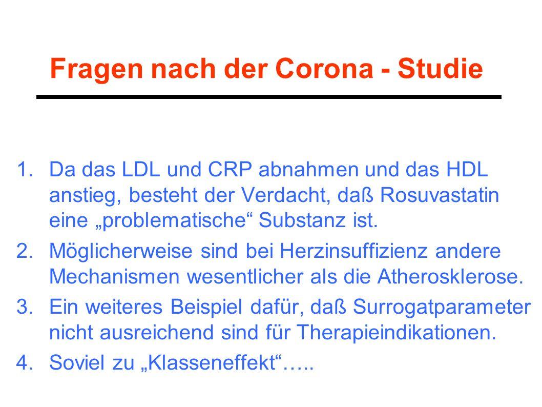 Fragen nach der Corona - Studie 1.Da das LDL und CRP abnahmen und das HDL anstieg, besteht der Verdacht, daß Rosuvastatin eine problematische Substanz