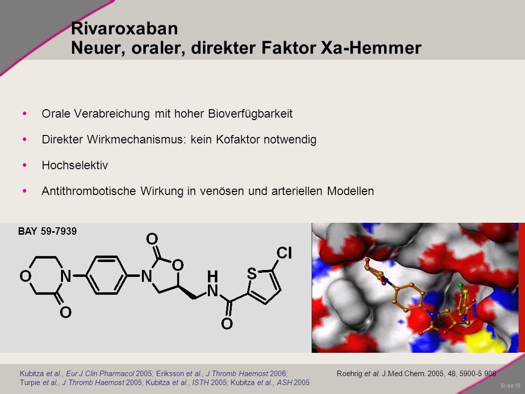Slide 18 Rivaroxaban Neuer, oraler, direkter Faktor Xa-Hemmer Orale Verabreichung mit hoher Bioverfügbarkeit Direkter Wirkmechanismus: kein Kofaktor n