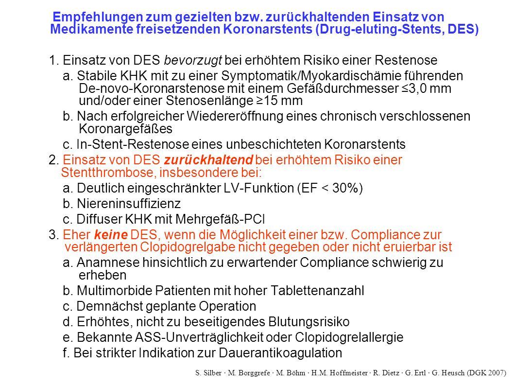 Empfehlungen zum gezielten bzw. zurückhaltenden Einsatz von Medikamente freisetzenden Koronarstents (Drug-eluting-Stents, DES) 1. Einsatz von DES bevo