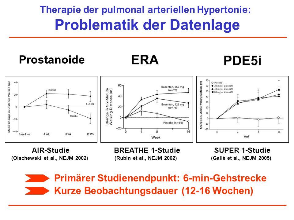 Therapie der pulmonal arteriellen Hypertonie: Problematik der Datenlage Prostanoide ERA PDE5i Primärer Studienendpunkt: 6-min-Gehstrecke Kurze Beobach