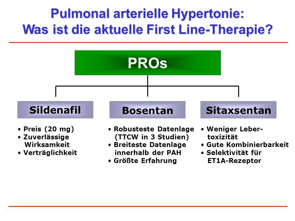 Pulmonal arterielle Hypertonie: Was ist die aktuelle First Line-Therapie? PROs Preis (20 mg) Zuverlässige Wirksamkeit Verträglichkeit Bosentan Sitaxse