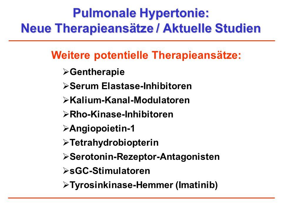 Pulmonale Hypertonie: Neue Therapieansätze / Aktuelle Studien Gentherapie Serum Elastase-Inhibitoren Kalium-Kanal-Modulatoren Rho-Kinase-Inhibitoren A