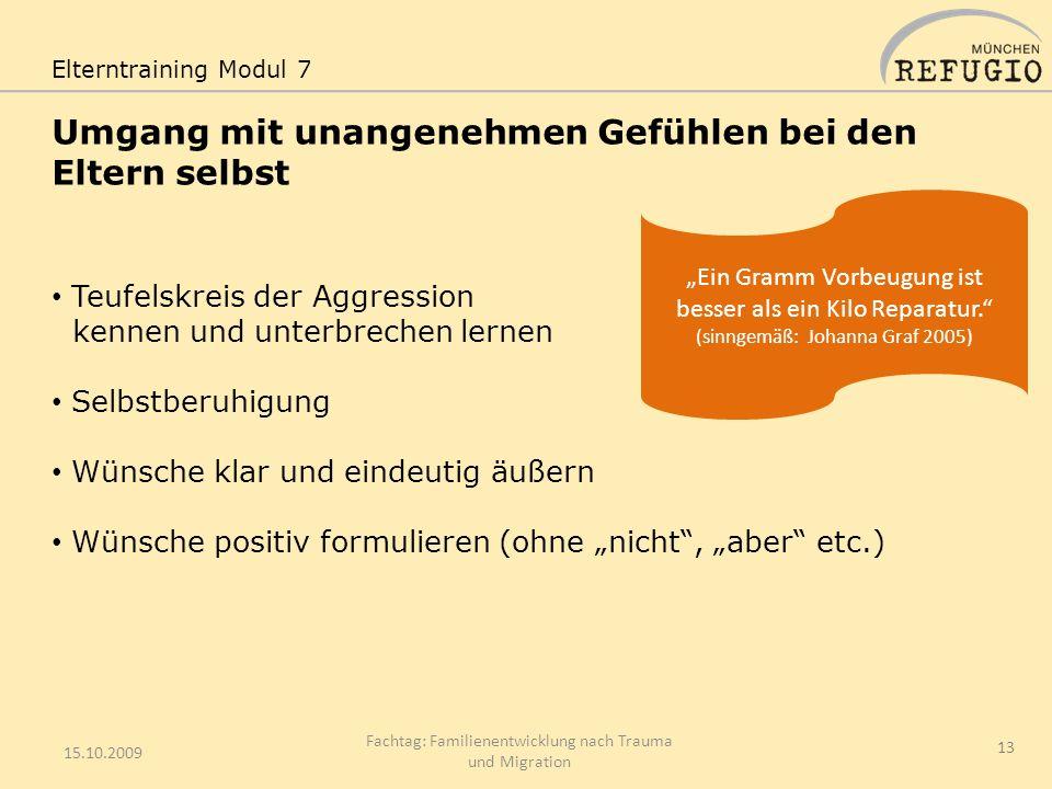 Umgang mit unangenehmen Gefühlen bei den Eltern selbst 15.10.2009 Fachtag: Familienentwicklung nach Trauma und Migration 13 Elterntraining Modul 7 Teu