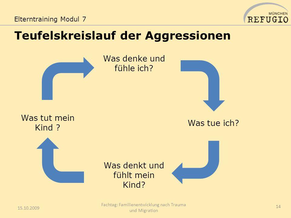 Teufelskreislauf der Aggressionen 15.10.2009 Fachtag: Familienentwicklung nach Trauma und Migration 14 Elterntraining Modul 7 Was denke und fühle ich?