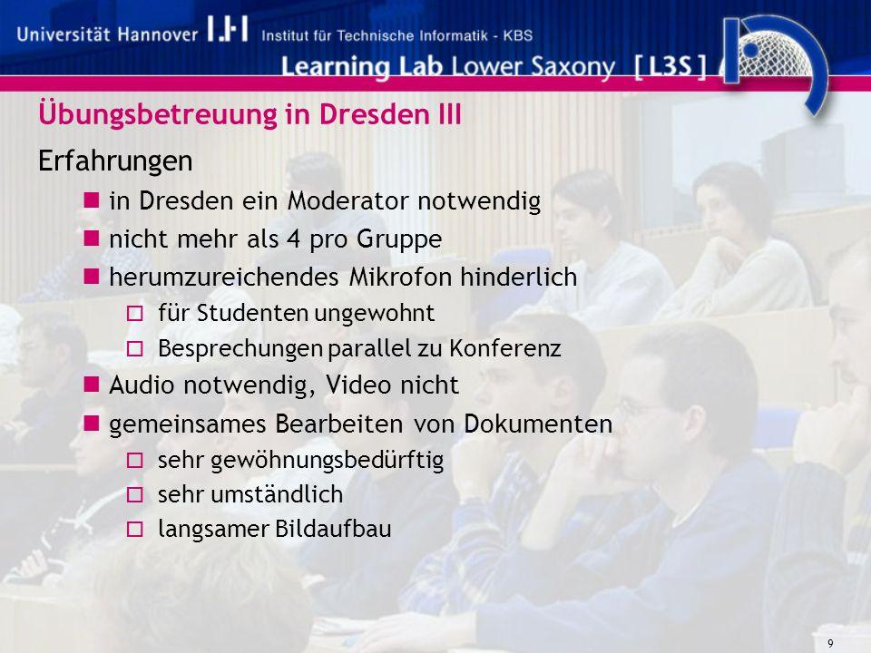 9 Übungsbetreuung in Dresden III Erfahrungen in Dresden ein Moderator notwendig nicht mehr als 4 pro Gruppe herumzureichendes Mikrofon hinderlich für Studenten ungewohnt Besprechungen parallel zu Konferenz Audio notwendig, Video nicht gemeinsames Bearbeiten von Dokumenten sehr gewöhnungsbedürftig sehr umständlich langsamer Bildaufbau