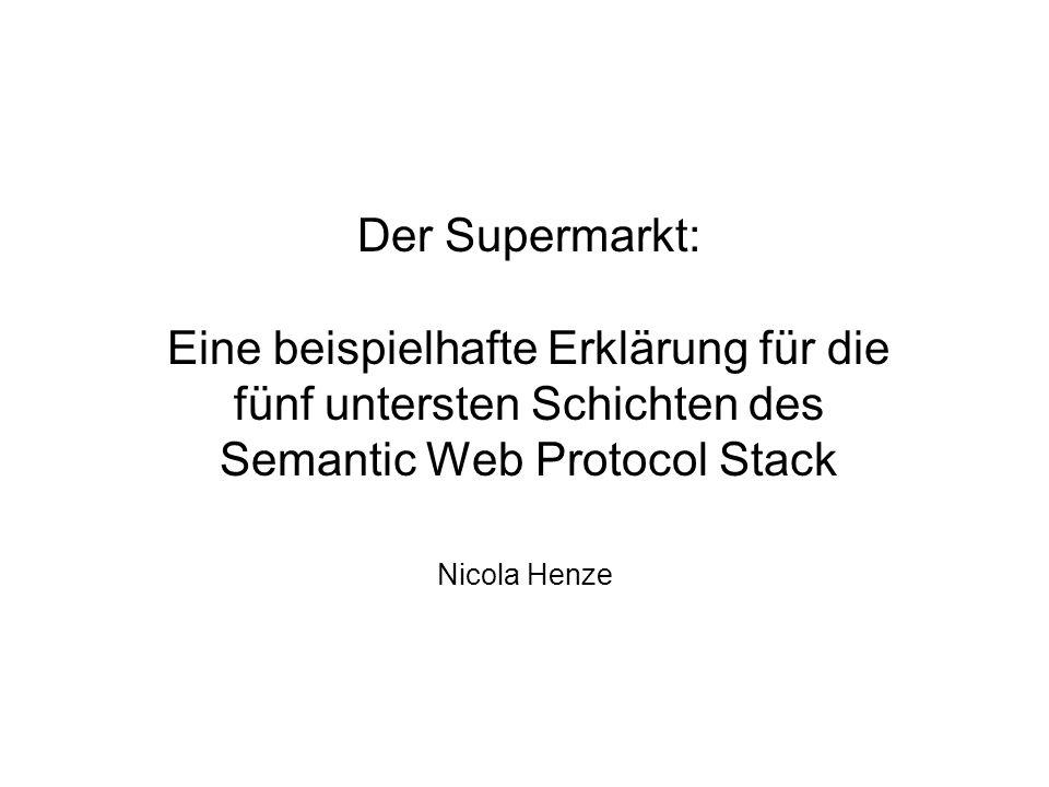Der Supermarkt: Eine beispielhafte Erklärung für die fünf untersten Schichten des Semantic Web Protocol Stack Nicola Henze