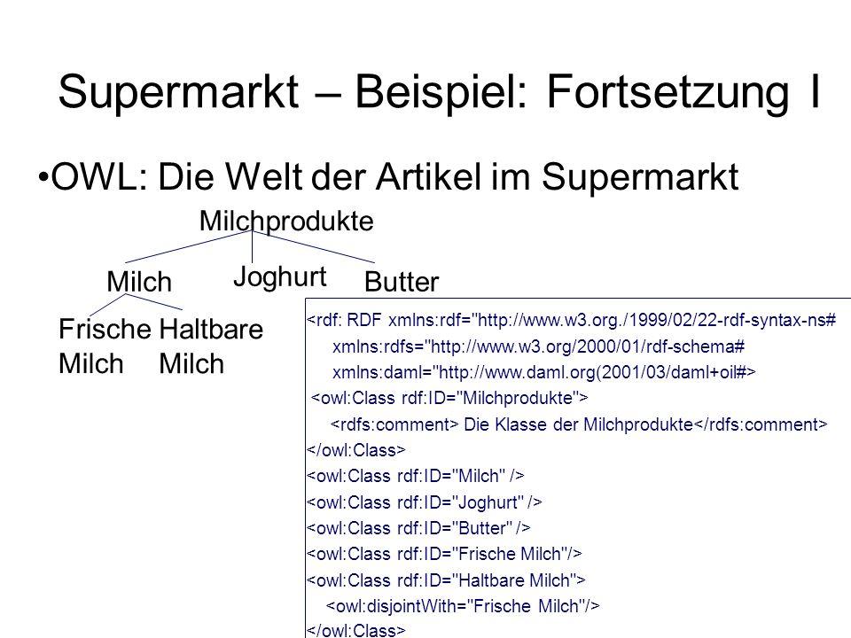 Supermarkt – Beispiel: Fortsetzung I OWL: Die Welt der Artikel im Supermarkt <rdf: RDF xmlns:rdf= http://www.w3.org./1999/02/22-rdf-syntax-ns# xmlns:rdfs= http://www.w3.org/2000/01/rdf-schema# xmlns:daml= http://www.daml.org(2001/03/daml+oil#> Die Klasse der Milchprodukte Milchprodukte Milch Joghurt Butter Frische Milch Haltbare Milch