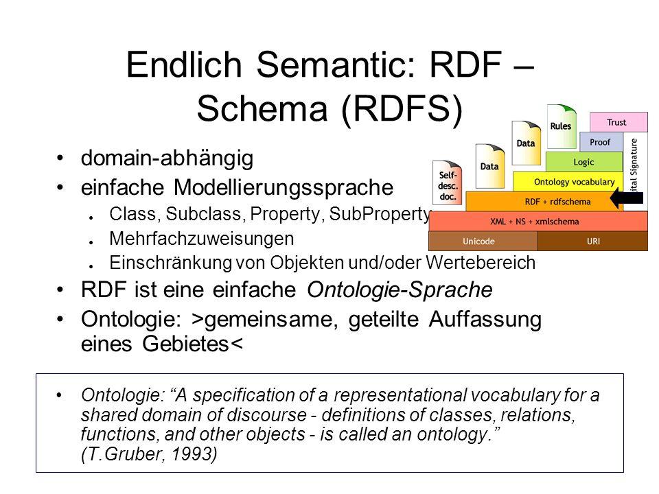 Endlich Semantic: RDF – Schema (RDFS) domain-abhängig einfache Modellierungssprache Class, Subclass, Property, SubProperty Mehrfachzuweisungen Einschränkung von Objekten und/oder Wertebereich RDF ist eine einfache Ontologie-Sprache Ontologie: >gemeinsame, geteilte Auffassung eines Gebietes< Ontologie: A specification of a representational vocabulary for a shared domain of discourse - definitions of classes, relations, functions, and other objects - is called an ontology.