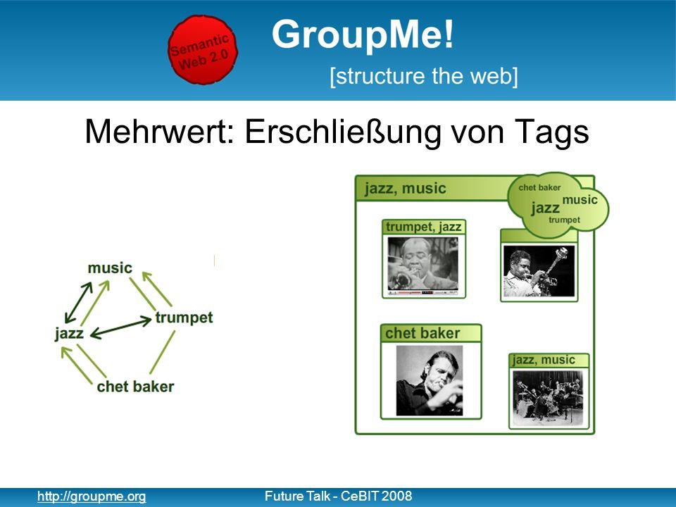 11 http://groupme.orgFuture Talk - CeBIT 2008 Mehrwert: Erschließung von Tags