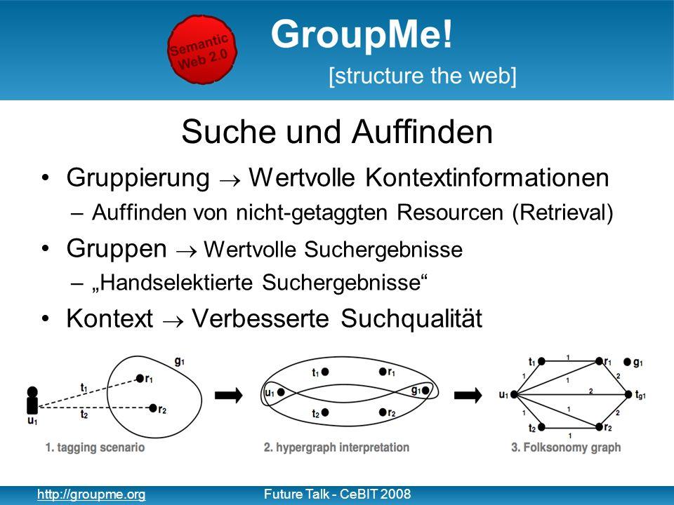 13 http://groupme.orgFuture Talk - CeBIT 2008 Suche und Auffinden Gruppierung Wertvolle Kontextinformationen –Auffinden von nicht-getaggten Resourcen
