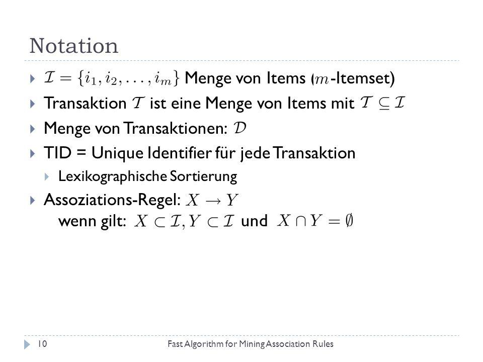 Notation Fast Algorithm for Mining Association Rules10 Menge von Items ( -Itemset) Transaktion ist eine Menge von Items mit Menge von Transaktionen: T