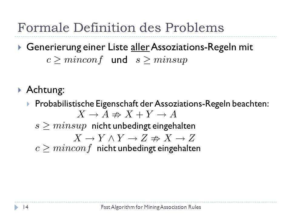 Formale Definition des Problems Fast Algorithm for Mining Association Rules14 Generierung einer Liste aller Assoziations-Regeln mit und Achtung: Proba