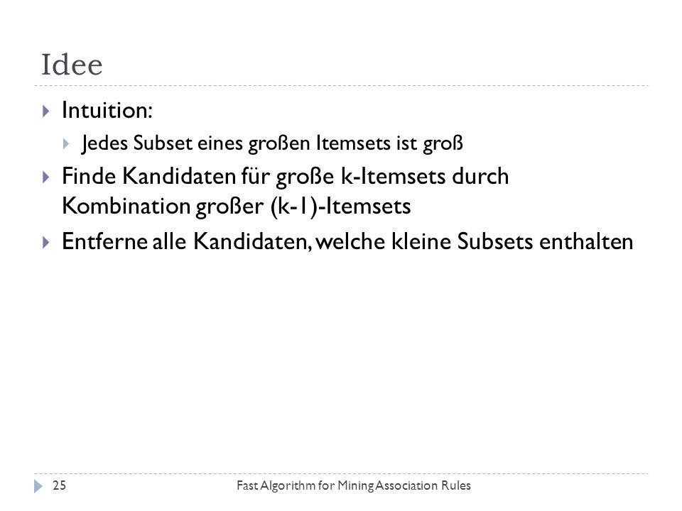 Idee Fast Algorithm for Mining Association Rules25 Intuition: Jedes Subset eines großen Itemsets ist groß Finde Kandidaten für große k-Itemsets durch