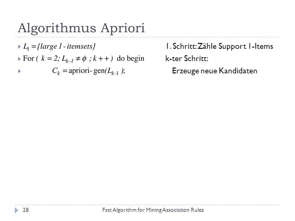 Algorithmus Apriori Fast Algorithm for Mining Association Rules28 1. Schritt: Zähle Support 1-Items k-ter Schritt: Erzeuge neue Kandidaten