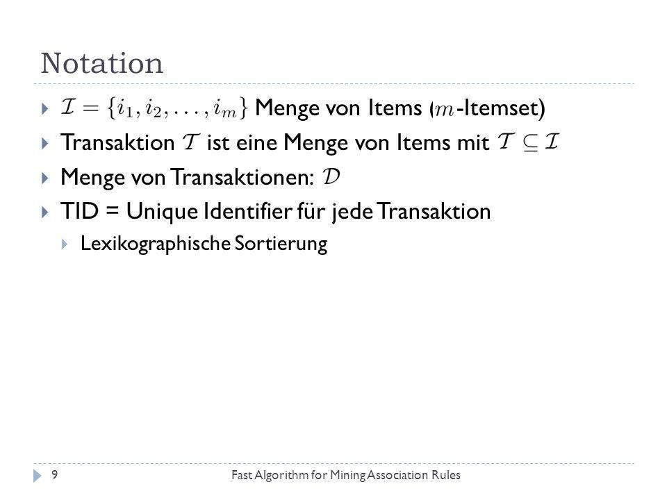 Notation Fast Algorithm for Mining Association Rules9 Menge von Items ( -Itemset) Transaktion ist eine Menge von Items mit Menge von Transaktionen: TI