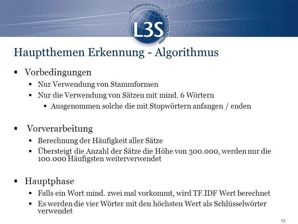 12 Hauptthemen Erkennung - Algorithmus Vorbedingungen Nur Verwendung von Stammformen Nur die Verwendung von Sätzen mit mind.