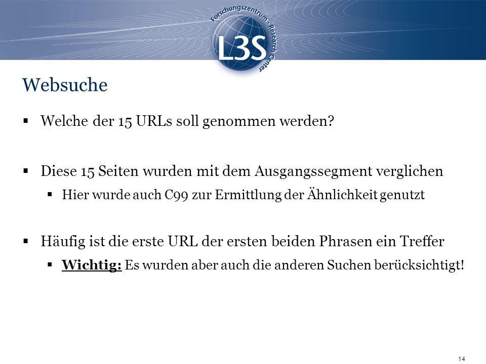 14 Websuche Welche der 15 URLs soll genommen werden.