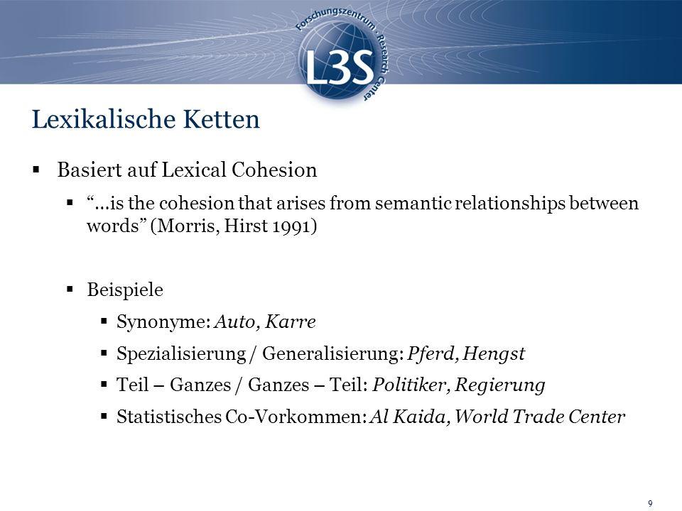 10 Lexikalische Ketten Lexical Chains Guppen gebildet aus semantisch, verbundenen Wörtern Bilden lexikalisch, zusammenhängenden Struktur im Text Beispiel: {Blume, Rasen, Rose, Garten, Baum}