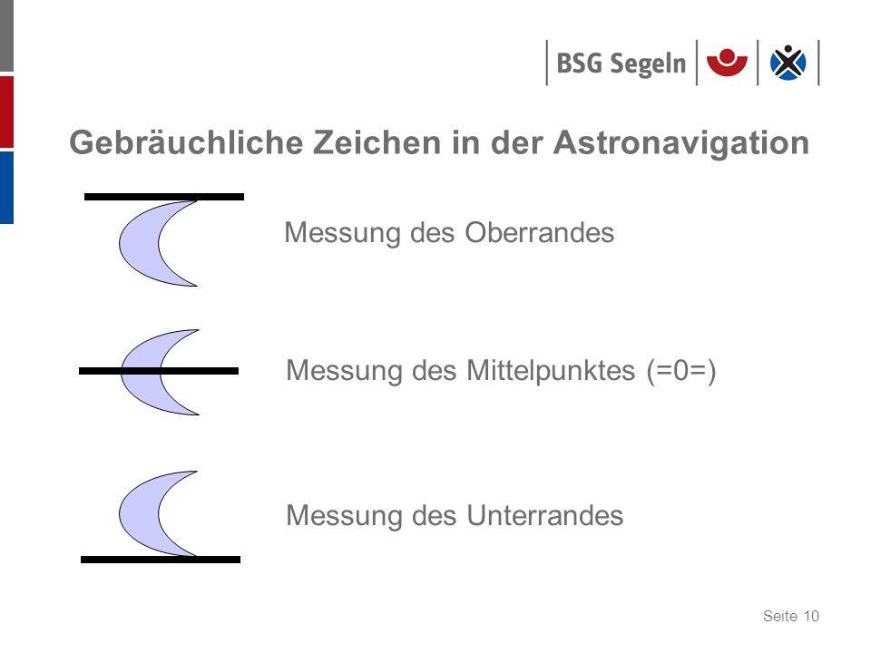Seite 10 Gebräuchliche Zeichen in der Astronavigation Messung des Oberrandes Messung des Mittelpunktes (=0=) Messung des Unterrandes