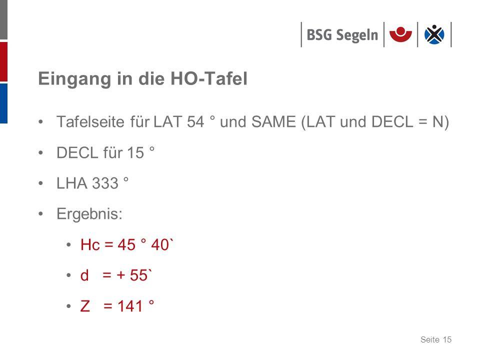 Seite 15 Eingang in die HO-Tafel Tafelseite für LAT 54 ° und SAME (LAT und DECL = N) DECL für 15 ° LHA 333 ° Ergebnis: Hc = 45 ° 40` d = + 55` Z = 141 °