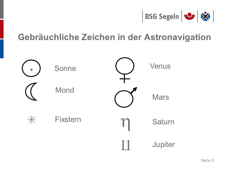 Seite 9 Gebräuchliche Zeichen in der Astronavigation. Sonne Mond Fixstern Venus Mars Saturn Jupiter