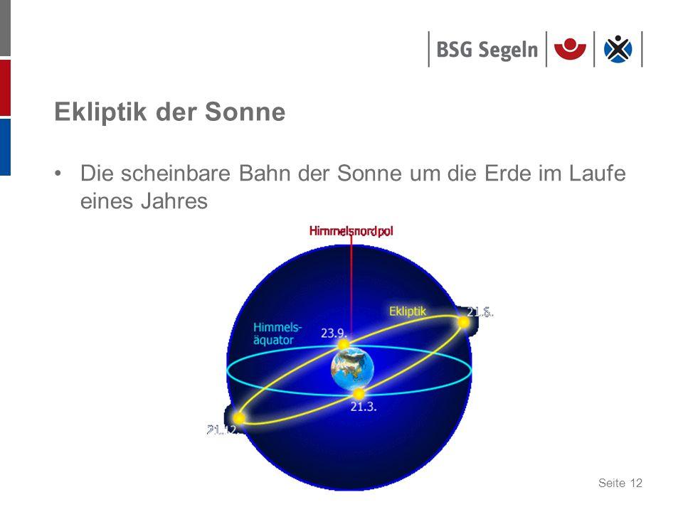 Seite 12 Ekliptik der Sonne Die scheinbare Bahn der Sonne um die Erde im Laufe eines Jahres