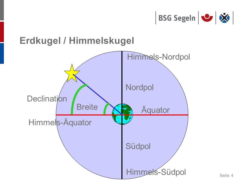 Seite 4 Erdkugel / Himmelskugel Nordpol Himmels-Nordpol Südpol Himmels-Südpol Äquator Himmels-Äquator Declination Breite