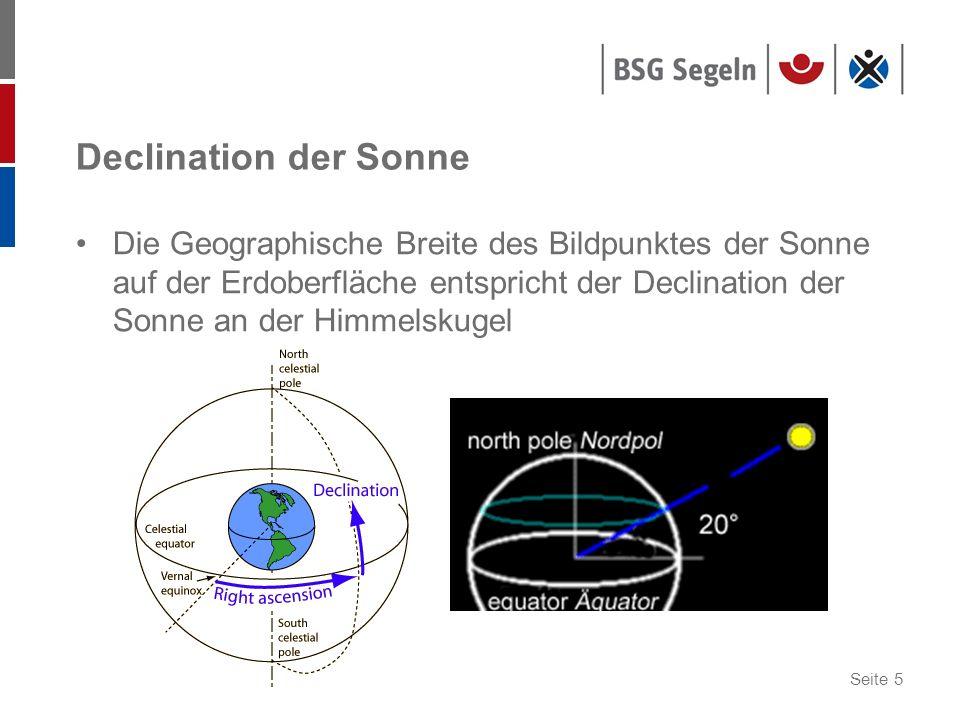 Seite 5 Declination der Sonne Die Geographische Breite des Bildpunktes der Sonne auf der Erdoberfläche entspricht der Declination der Sonne an der Him