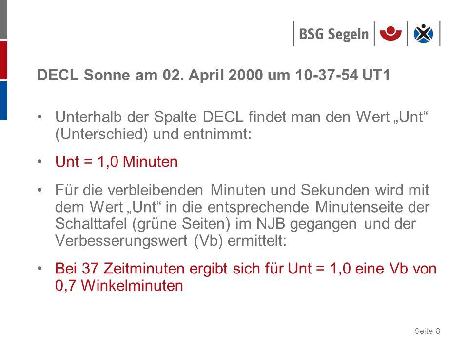 Seite 8 DECL Sonne am 02. April 2000 um 10-37-54 UT1 Unterhalb der Spalte DECL findet man den Wert Unt (Unterschied) und entnimmt: Unt = 1,0 Minuten F