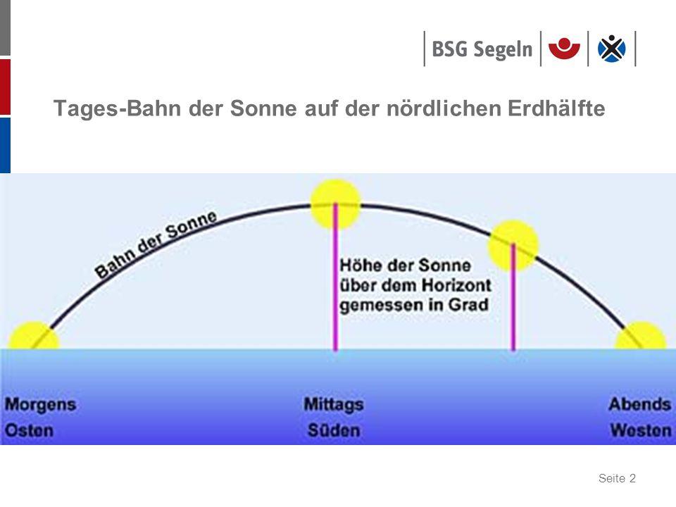 Seite 3 Schiffsmittag: Kulmination der Sonne höchster Stand der Sonne (Hb=max) Sonne durchquert den Ortsmeridian Sonne peilt genau Süd Mittagsbreite