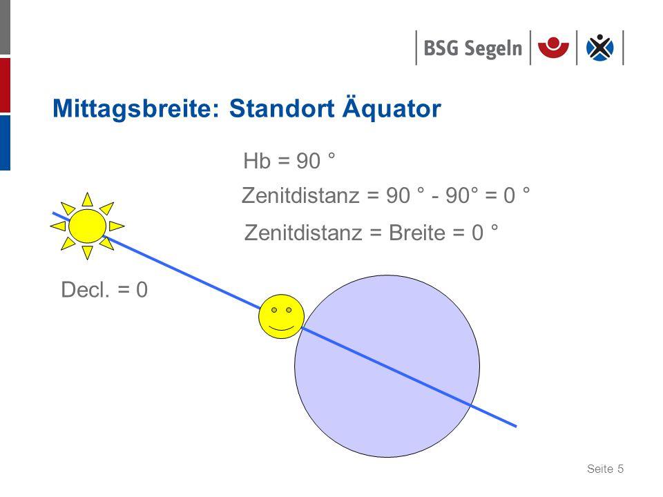 Seite 5 Mittagsbreite: Standort Äquator Decl. = 0 Hb = 90 ° Zenitdistanz = 90 ° - 90° = 0 ° Zenitdistanz = Breite = 0 °
