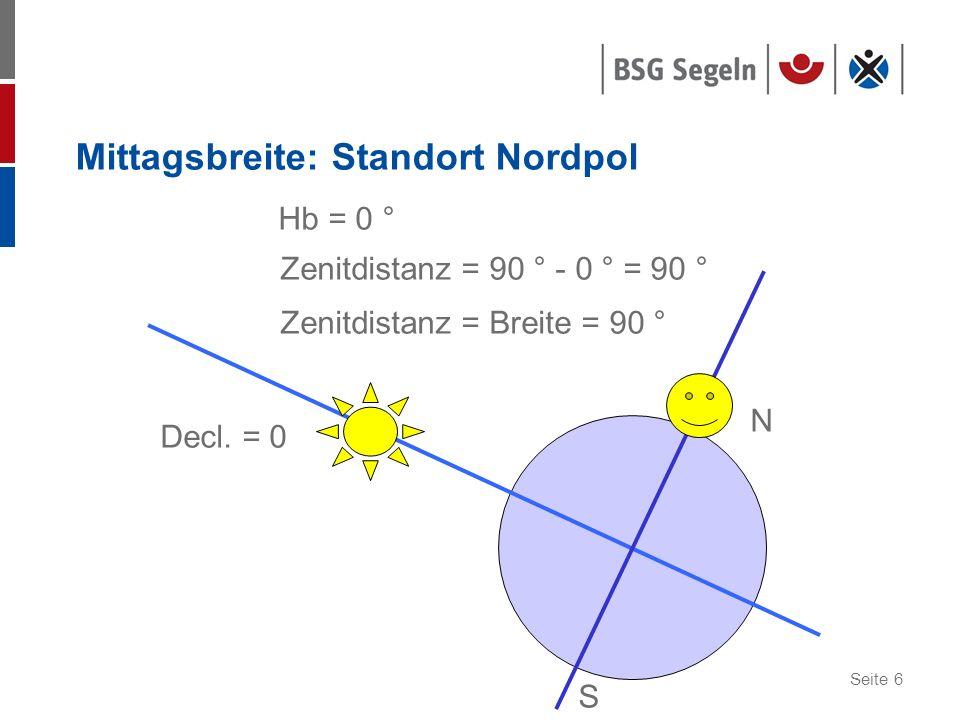 Seite 6 Mittagsbreite: Standort Nordpol Decl. = 0 Hb = 0 ° Zenitdistanz = 90 ° - 0 ° = 90 ° Zenitdistanz = Breite = 90 ° S N