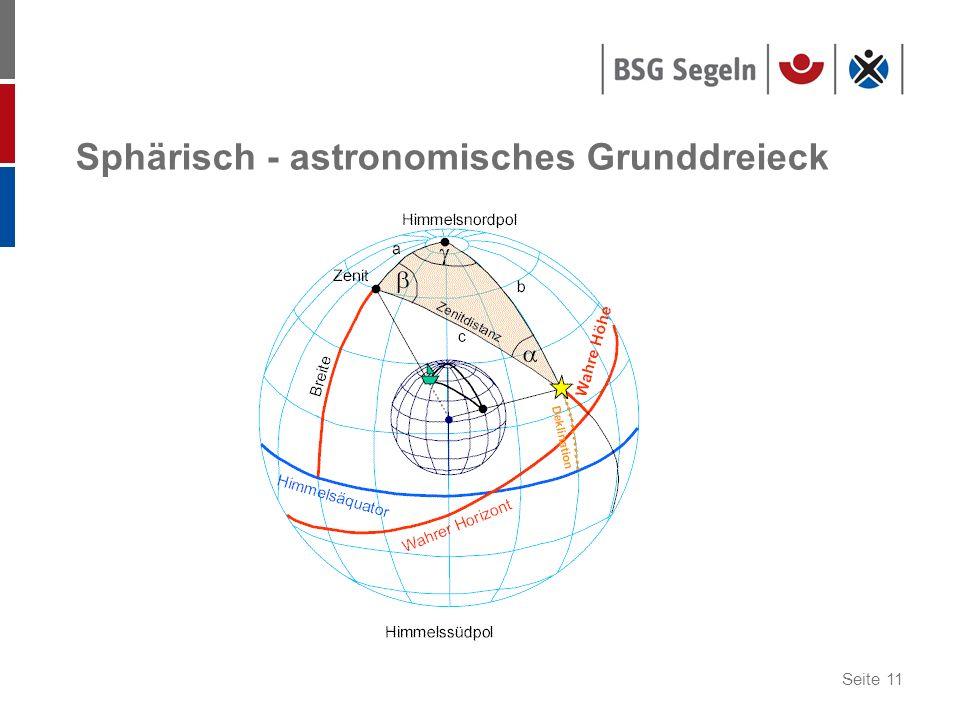 Seite 11 Sphärisch - astronomisches Grunddreieck