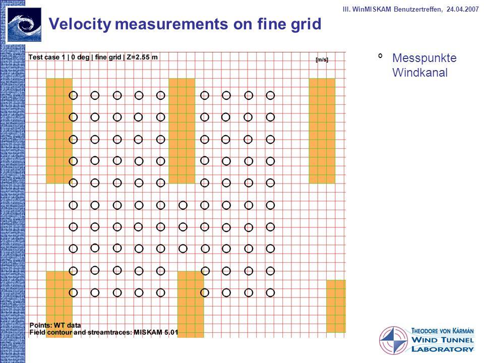 Velocity measurements on fine grid º Messpunkte Windkanal III. WinMISKAM Benutzertreffen, 24.04.2007