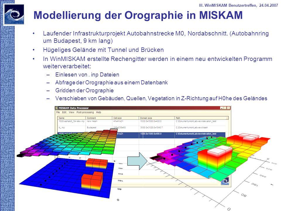 Modellierung der Orographie in MISKAM Laufender Infrastrukturprojekt Autobahnstrecke M0, Nordabschnitt. (Autobahnring um Budapest, 9 km lang) Hügelige