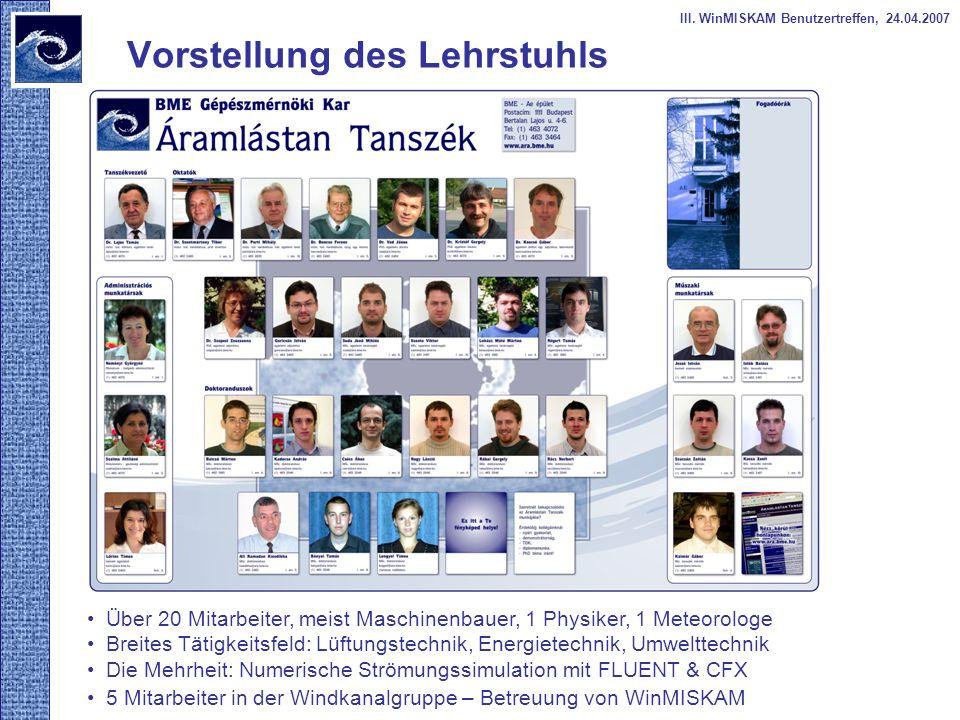 Vorstellung des Lehrstuhls III. WinMISKAM Benutzertreffen, 24.04.2007 Über 20 Mitarbeiter, meist Maschinenbauer, 1 Physiker, 1 Meteorologe Breites Tät