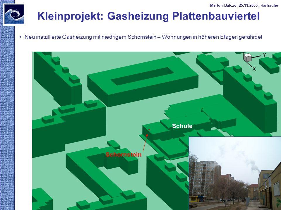 Márton Balczó, 25.11.2005, Karlsruhe Neu installierte Gasheizung mit niedrigem Schornstein – Wohnungen in höheren Etagen gefährdet Kleinprojekt: Gashe