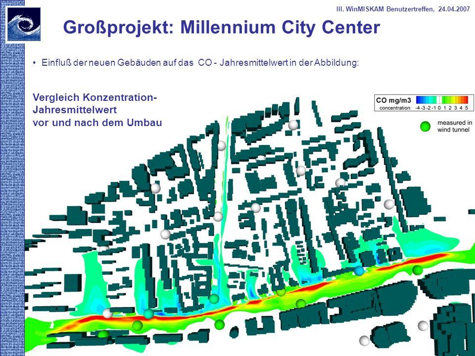 Einfluß der neuen Gebäuden auf das CO - Jahresmittelwert in der Abbildung: Großprojekt: Millennium City Center Vergleich Konzentration- Jahresmittelwe