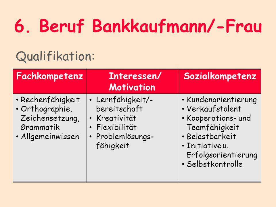 6. Beruf Bankkaufmann/-Frau Qualifikation: Fachkompetenz Interessen/ Motivation Sozialkompetenz Rechenfähigkeit Orthographie, Zeichensetzung, Grammati